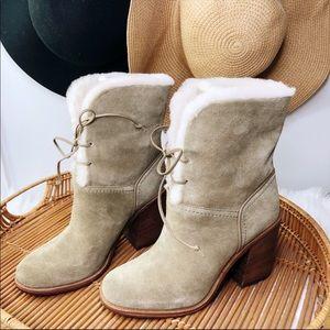 Ugg Jerene Block Heel Khaki Green Fur Leather Boot
